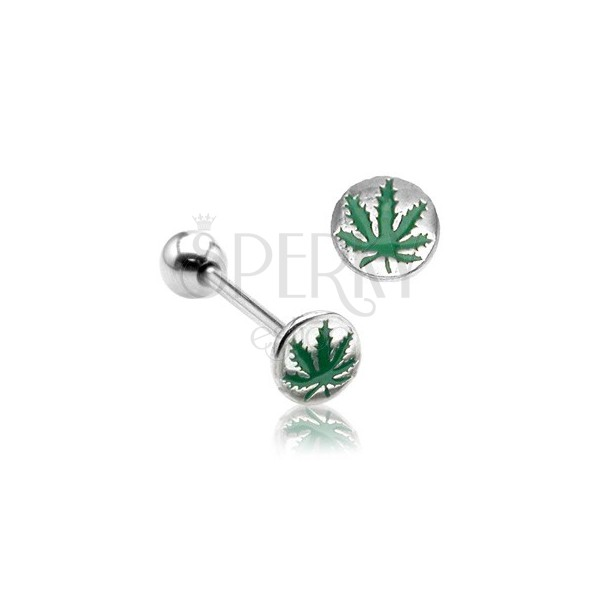 Nyelvpiercing - cannabis logó