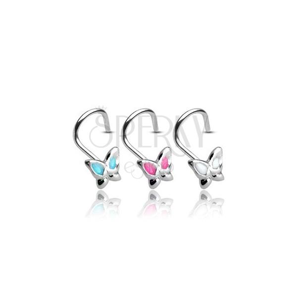 925 ezüst ívelt orr piercing, pillangó díszítéssel