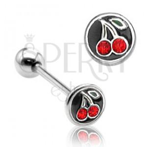 Piercing a nyelvbe - piros cseresznye
