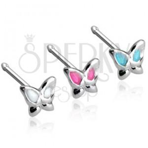 Egyenes szárú orr piercing pillangóval