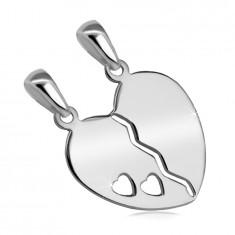 925 Ezüst kettős medál - hasított szív,két kicsi szív alakú kivágásával