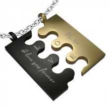 Minőségi acél medál - fekete és arany Puzzle
