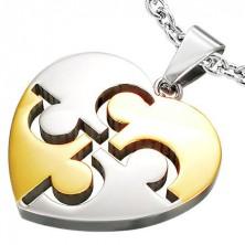 Nemesacél medál - Puzzle Heart, ezüst és arany színben