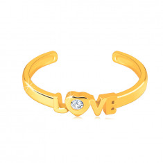 """Gyémánt gyűrű 14K sárga aranyból, nyitott vállakkal - csillogó """"LOVE"""" felirattal"""