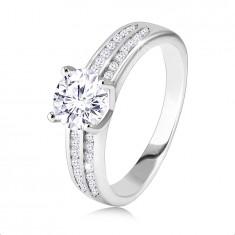 925 Ezüst eljegyzési gyűrű- két cirkónia szalag, középen kerek vágott cirkónia kő.