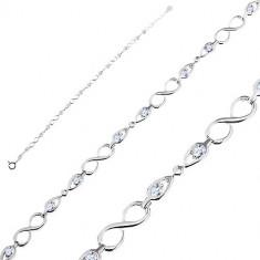 925 Ezüst karkötő - fényes nyolcas és nyílhegyek átlátszó cirkóniával