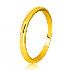14K sárga arany gyémánt gyűrű - vékony, sima váll, tiszta, briliáns