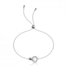 925 Ezüst karkötő - kör alakú cirkóniával, fényes,összekapcsolható  cirkónia felülettel.