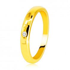 """Gyémánt gyűrű 585 sárga aranyból - """"LOVE"""" felirattal, briliánssal, sima felülettel, 1,6 mm"""
