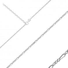 925 Ezüst nyaklánc - Figaro mintázattal, metszett, fényes szélekkel, 1,6 mm