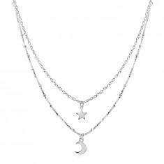 925 Ezüst nyaklánc - dupla lánc, csillag és félhold medállal