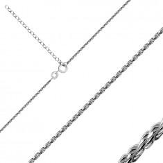 925 Ezüst nyaklánc - spirálisan sűrűn összekapcsolt fényes láncszemekből, rugós gyűrűzárral.