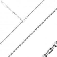 925 Ezüst nyaklánc - fényes ovális láncszemek, rugós gyűrűzár, 1,1 mm