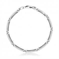 925 Ezüst karkötő - téglalap alakú láncszemekkel vékony sávokkal, homár karmos zár