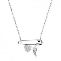 925 Ezüst nyaklánc - biztosítótű medállal, cirkóniás szívvel, angyalszárnnyal