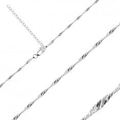 925 Ezüst nyaklánc - fényes ovális láncszemekkel spirál alakban, 1,7 mm