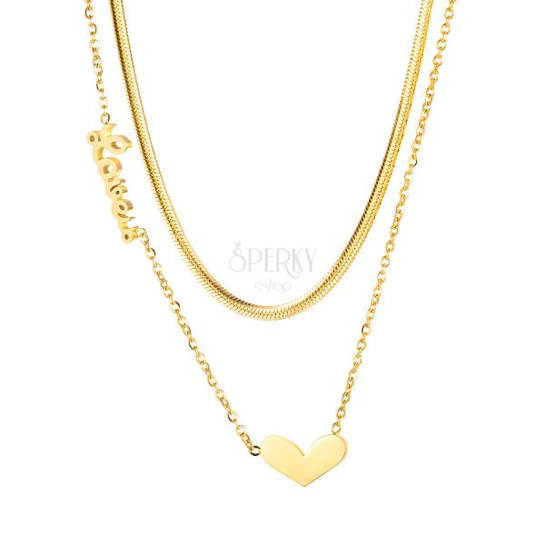 """Nyaklánc acélból, arany színű - kettős lánc, medál szív, """"LOVE"""" felirat"""