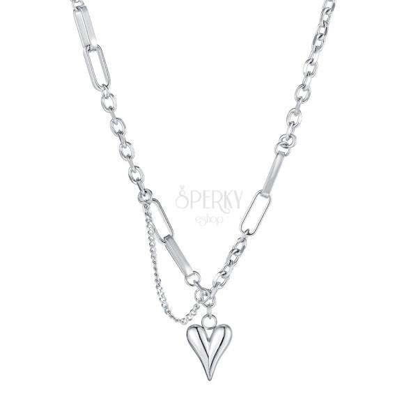 Nyaklánc rozsdamentes acélból, ezüst színű - nagyobb ovális láncszemek, keskeny fényes szív