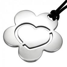 Flower Heart nemesacél medál