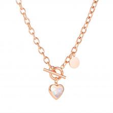 Nyaklánc acélból, réz színű - ovális láncszemek, medál szív, gyöngyházfény, szivárvány tükröződés