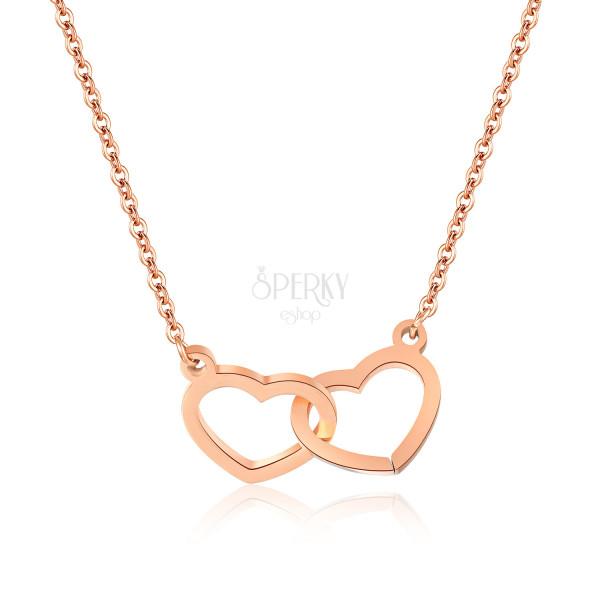 Acél nyaklánc réz színű, finom lánc, két szív szorosan egymáshoz kapcsolódnak
