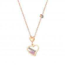 Acél nyaklánc réz színben, szabálytalan szív alakú medál, gyöngyház szín, tiszta cirkónia