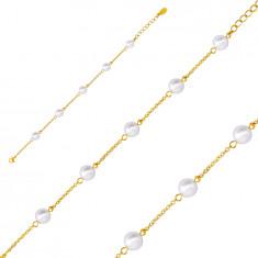 Karkötő arany színű acélból, fehér gyöngyökkel, lánccal