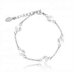 Karkötő ezüst színű acélból, fehér gyöngyökkel, lánccal