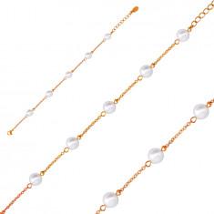 Karkötő réz színű acélból, fehér gyöngyökkel, finom lánccal