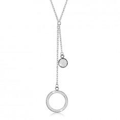 Acél nyaklánc - nagy körvonallal kristályokkal, lapos körrel, ezüst színű medálokkal