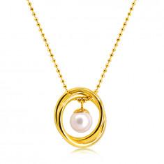 Arany színű acél nyaklánc - Gyöngylánc, két keresztezett karika, gyönggyel