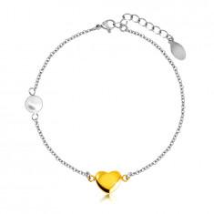 Acél karkötő - sima, fényes szív arany színben, gyönggyel, finom lánc