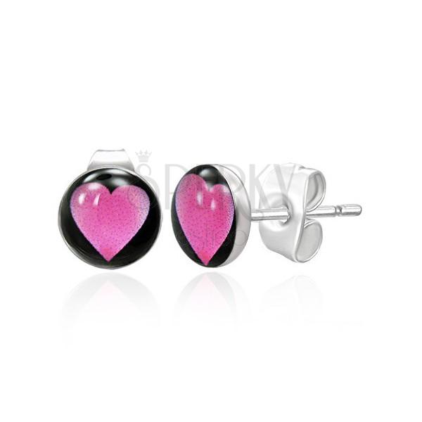 Nemesacél fülbevaló - rózsaszín szív