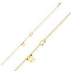 Arany 9K karkötő - pillangók sárga aranyból, fényes lánc ovális láncszemekből