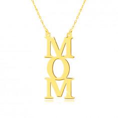 """Nyaklánc sárga 9K aranyból - """"MOM"""" felirat függőlegesen, apró láncszemek"""