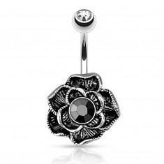 Vintage köldök piercing orvosi acélból - virágzó rózsa, fekete hematittal