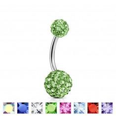 Köldök piercing orvosi acélból - színes kristályokkal