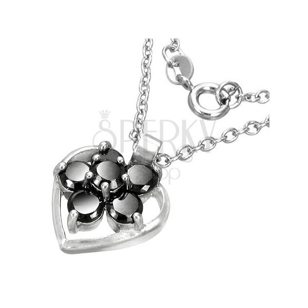 Divatos nyaklánc - ezüst szív keret, fekete cirkónia virág
