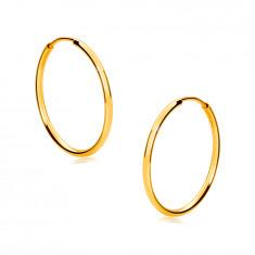 Arany karika fülbevalók 9K aranyból - vékony, lekerekített vállak, fényes felület, 17 mm