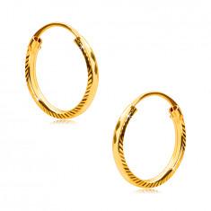 Fülbevaló sárga, 375 aranyból - karika oldal barázdákkal,gyémánt véséssel, 12 mm