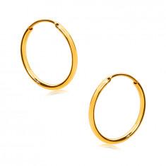 Fülbevaló sárga 375 aranyból - finom karika, fényes, lekerekített felület, 12 mm