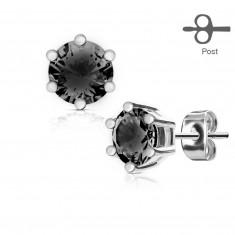 Orvosi acélból készült fülbevaló, ezüst színű, kerek fekete cirkóniával
