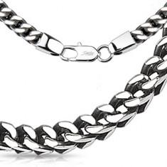 Lánc acélból ezüst színben - fényes szögletes alakú láncszemek, 5 mm