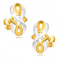 Fülbevaló 9K aranyból - végtelen szimbólum, kelta csomó kombinált aranyból, stekker zár
