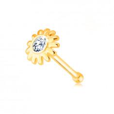 Gyémánt orr piercing 585 sárga aranyból - virág briliáns tiszta árnyalatban
