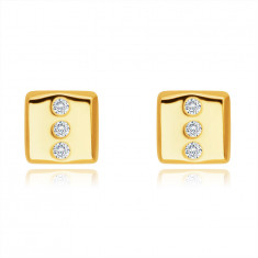 Gyémánt 14K sárga arany fülbevaló - téglalap alakú, három kerek briliánssal, stekker zárral