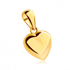 14K sárga aranyból készült medál - teljes szív, fényes és enyhén domború felülettel.