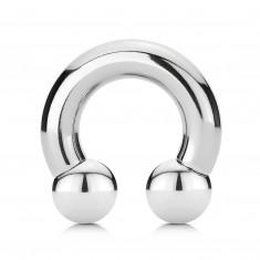 Rozsdamentes acél piercing - fényes patkó golyókkal, szélessége 10 mm