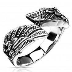316L acél gyűrű, szárny alakú, ezüst színben