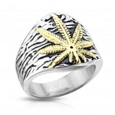 Rozsdamentes acél gyűrű, marihuána levél, ezüst színű